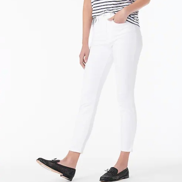 """J crew 9"""" high rise toothpick jeans white"""